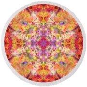 Orange Flower Mandala Round Beach Towel