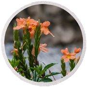Orange Flower Round Beach Towel