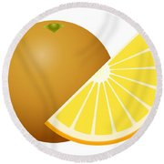 Orange Fruit Round Beach Towel
