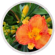Orange Gladiola Flower And Buds Round Beach Towel