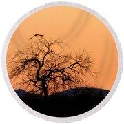 Orange Glow Sunset In The Desert Round Beach Towel