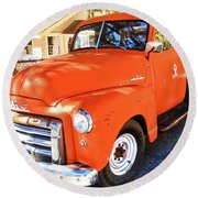 Orange Gmc Pickup Truck In Idyllwild Round Beach Towel