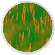 Orange Grass Spikes Round Beach Towel