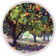 Orange Grove Of Citrus Fruit Trees Round Beach Towel