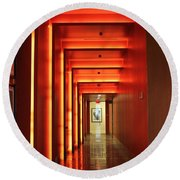 Orange Hallway Round Beach Towel
