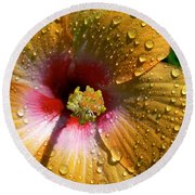 Orange Hibiscus II With Water Droplets Round Beach Towel