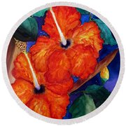 Orange Hibiscus Round Beach Towel by Lil Taylor