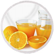 Orange Juice Round Beach Towel