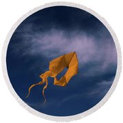 Orange Kite Round Beach Towel
