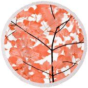 Orange Leaves Melody  Round Beach Towel