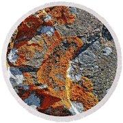 Orange Lichen Round Beach Towel