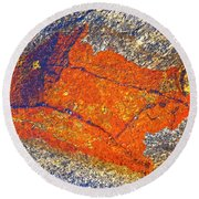 Orange Lichen Round Beach Towel by Heiko Koehrer-Wagner