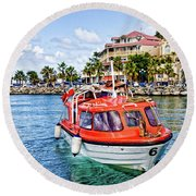 Orange Lifeboats Across Colorful Bay Round Beach Towel