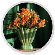 Orange Lilies In June Round Beach Towel