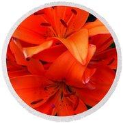 Orange Lily Closeup Digital Painting Round Beach Towel