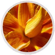Orange Lily Flower Art Print Summer Lilies Baslee Round Beach Towel