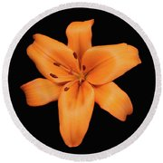 Orange Lily On Black Round Beach Towel