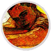Orange Man Round Beach Towel