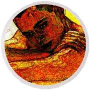 Orange Man Round Beach Towel