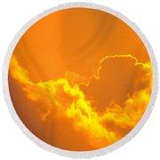 Orange Misty Sky Round Beach Towel