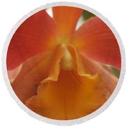 Orange Orchid 2 Round Beach Towel
