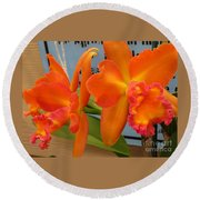 Orange Orchid Round Beach Towel