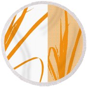 Orange Palm Round Beach Towel