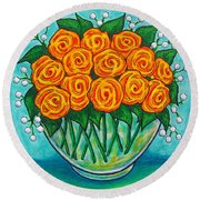 Orange Passion Round Beach Towel
