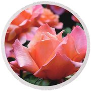 Orange-pink Roses  Round Beach Towel