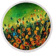 Orange Poppies 459080 Round Beach Towel