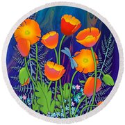 Orange Poppies And Forget Me Nots Round Beach Towel