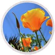 Orange Poppy Blue Sky Round Beach Towel