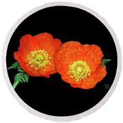Orange Poppy Collage Cutout Round Beach Towel