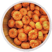 Orange Pumpkins Autumn Background. Round Beach Towel