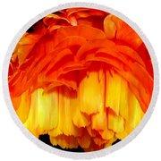 Orange Ranunculus Polar Coordinate Round Beach Towel