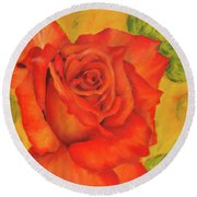 Orange Rose Blossom Round Beach Towel