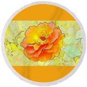 Orange Rose Round Beach Towel