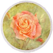 Orange Rose With Old Paint Texture Background Round Beach Towel