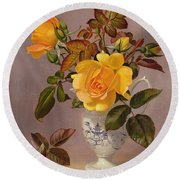 Orange Roses In A Blue And White Jug Round Beach Towel
