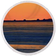 Orange Sky Above The Ice Of Kempenfelt Bay  Round Beach Towel