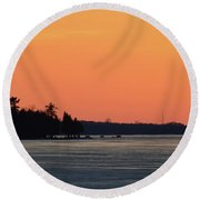 Orange Sky Above The Trees  Round Beach Towel