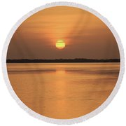 Orange Sky Round Beach Towel
