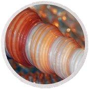 Orange Spiral Shell Round Beach Towel
