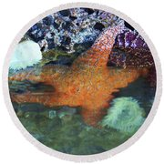 Orange Starfish Round Beach Towel