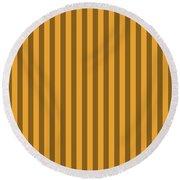 Orange Striped Pattern Design Round Beach Towel