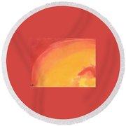 Orange Sun Round Beach Towel