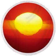 Orange Sunball Round Beach Towel