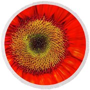 Orange Sunflower Round Beach Towel