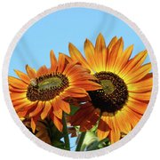 Orange Sunflowers Summer Blue Sky Art Prints Baslee Round Beach Towel