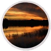 Orange Sunrise Round Beach Towel